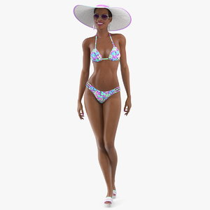 3D light skin bikini girl model