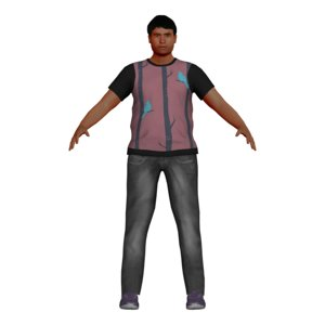 3D model fat man character
