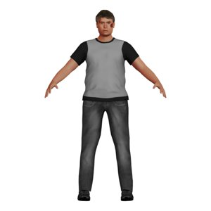 3D bruised white man character