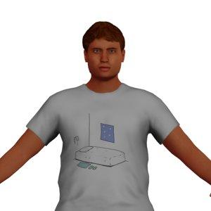 3D chubby man character model