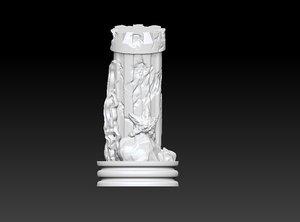 3D chess piece sea