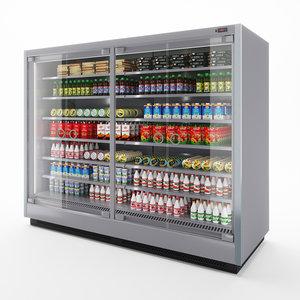 3D vertical glass door fridge model