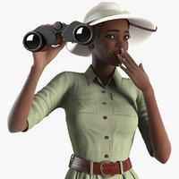 Dark Skin Black Woman Explorer Rigged