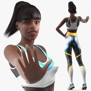 dark skin fitness woman rigged model