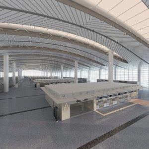 3D airport interior design model