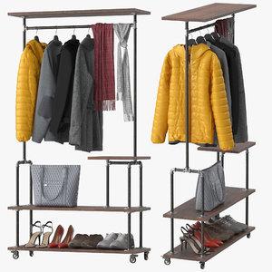 3D model industrial clothing rack