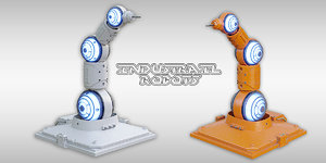 3D industrial robots scifi model
