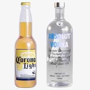 alcohol 3 beer absolut vodka 3D model