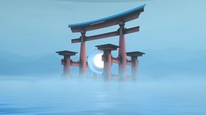 shrine japan gate model