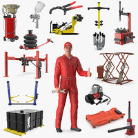 Rigged Auto Mechanic with Garage Equipment Collection