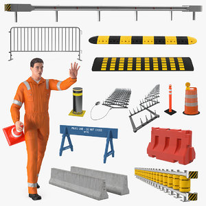 3D rigged road worker barriers model