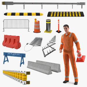 3D road worker barriers model