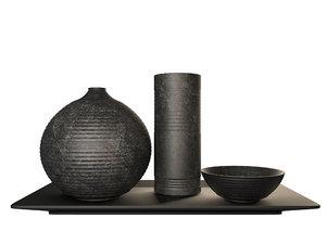 3D sake cup bottle model