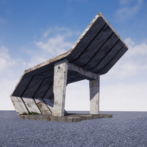 concrete soviet bus stop 3D model