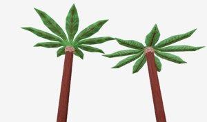 3D palm cartoon cartoony model