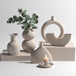 ceramic vases set candle 3D model