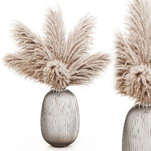 3D dry pampas grass glass vase model