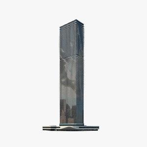3D model aqua skyscraper