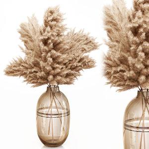 dry pampas grass glass vase 3D model