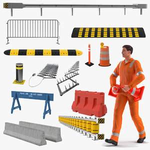 road worker barriers rigged model
