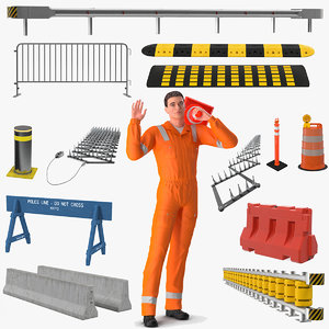 rigged road worker barriers 3D