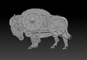 bison steampunk panel model