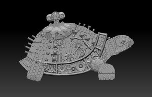 3D turtle steampunk panel model