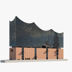 3D model elbphilharmonie architecture