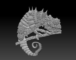 3D chameleon steampunk panel