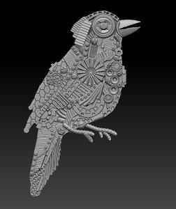 bird steampunk panel 3D model
