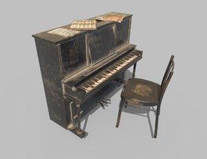 dusty piano 3D model