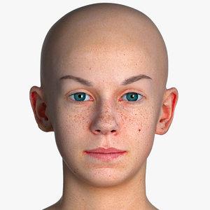 3D real pbr rhea human head