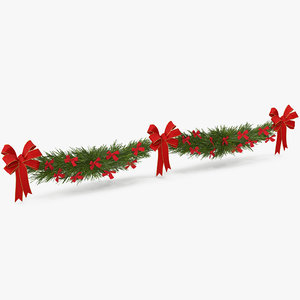 3D christmas garland bows v model