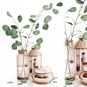 3D eucalyptus 1 glass vase model