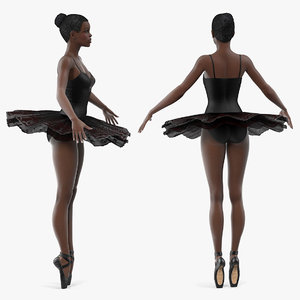 3D dark skinned black ballerina model