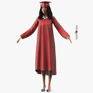 light skin graduation gown 3D