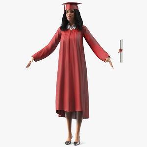 light skin graduation gown 3D
