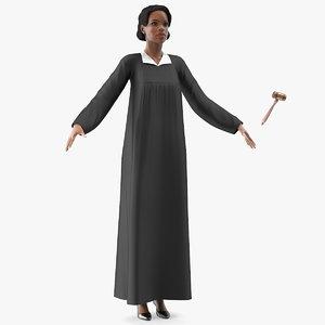 3D light skin judge woman