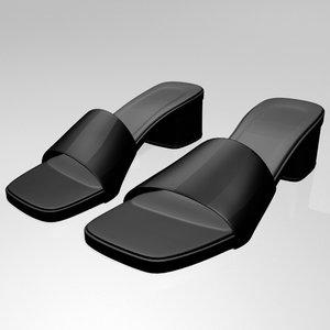 stylish square-toe slide sandals 3D