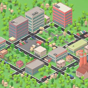 3D cartoon town toon model