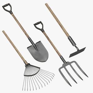 3D shovel rake hoe model