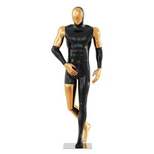 3D model black male mannequin gold