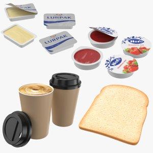 3D continental breakfast cup bread model