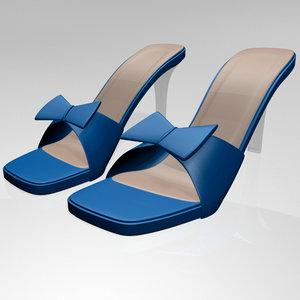 3D stylish square-toe faux-bow stiletto model