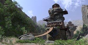 3D scene mountain rock plants