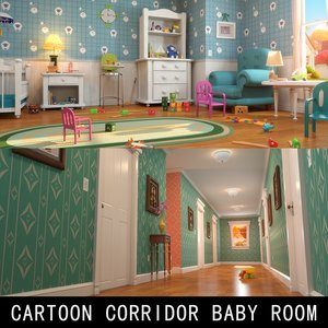 cartoon corridor baby room scene 3D model