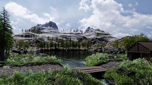 3D scene pine plants grass