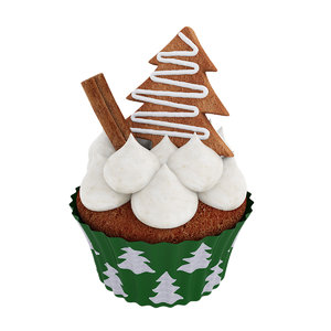 3D model christmas cupcake tree shaped