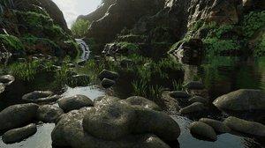 3D scene mossy cliff rock