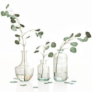 3D eucalyptus 4 vases decor